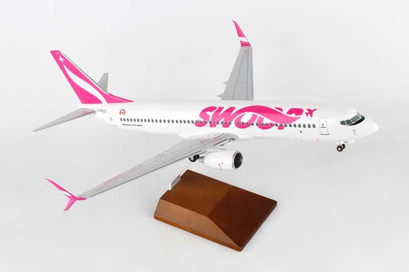 Swoop 737-800 W/WOOD STAND & GEAR (1:100) by Skymarks Supreme Desktop Aircraft Models item number: SKR8273