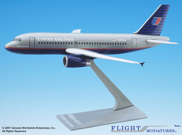 United A319-100 (New Colors) (1:200), Flight Miniatures Snap-Fit Airliners, Item Number AB-31900H-002