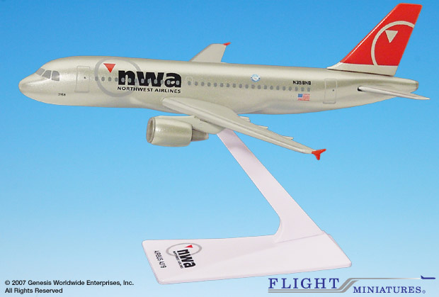Northwest A319-100 (New Colors) (1:200), Flight Miniatures Snap-Fit Airliners, Item Number AB-31900H-006