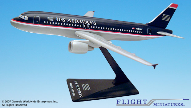 US Airways A320-200 (1:200), Flight Miniatures Snap-Fit Airliners, Item Number AB-32020H-049