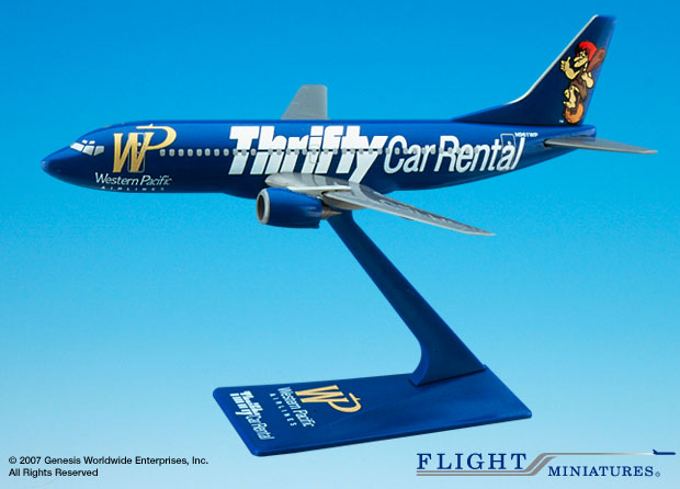 "Western Pacific 737-300 ""Thrifty (1:200), Flight Miniatures Snap-Fit Airliners, Item Number BO-73730H-400"