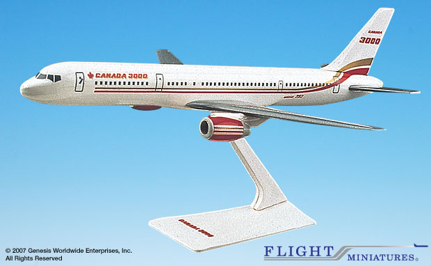 Canada 3000 757-200 (1:200), Flight Miniatures Snap-Fit Airliners, Item Number BO-75720H-008