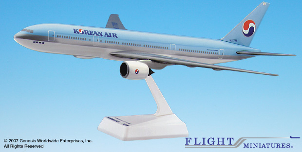 Korean Air 777-200 (1:200), Flight Miniatures Snap-Fit Airliners, Item Number BO-77720H-011