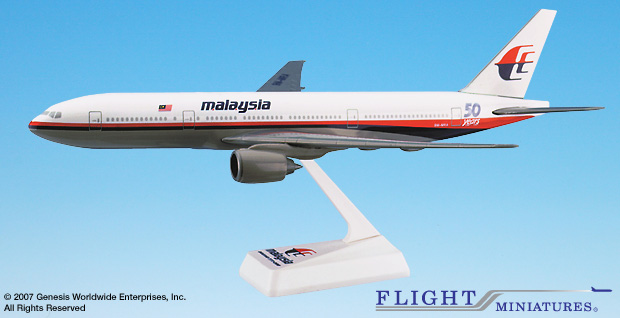 Malaysia 777-200 50th Ann.  (1:200), Flight Miniatures Snap-Fit Airliners, Item Number BO-77720H-016