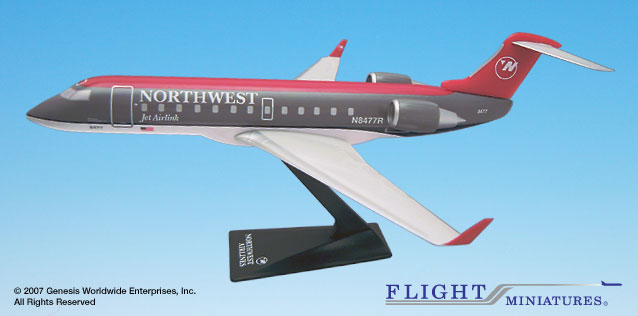 Northwest (90S Color Scheme) CRJ-200 (1:100), Flight Miniatures Snap-Fit Airliners, Item Number CA-20000C-006