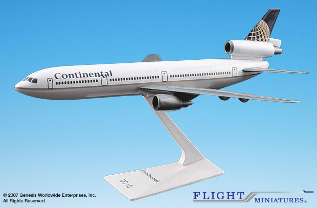 Continental (91-10) DC-10 (1:250), Flight Miniatures Snap-Fit Airliners, Item Number DC-01000I-006