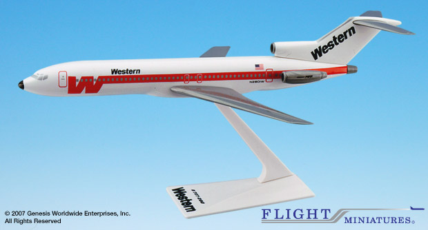 Western (White Scheme) B727-200 (1:200), Flight Miniatures Snap-Fit Airliners Item Number BO-72720H-015