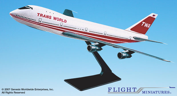 Trans World Airlines (TWA) (74-95) 747-100/200 (1:250), Flight Miniatures Snap-Fit Airliners Item Number BO-74710I-005