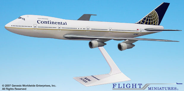 Continental (91-10) 747-100/200 (1:250), Flight Miniatures Snap-Fit Airliners Item Number BO-74710I-011