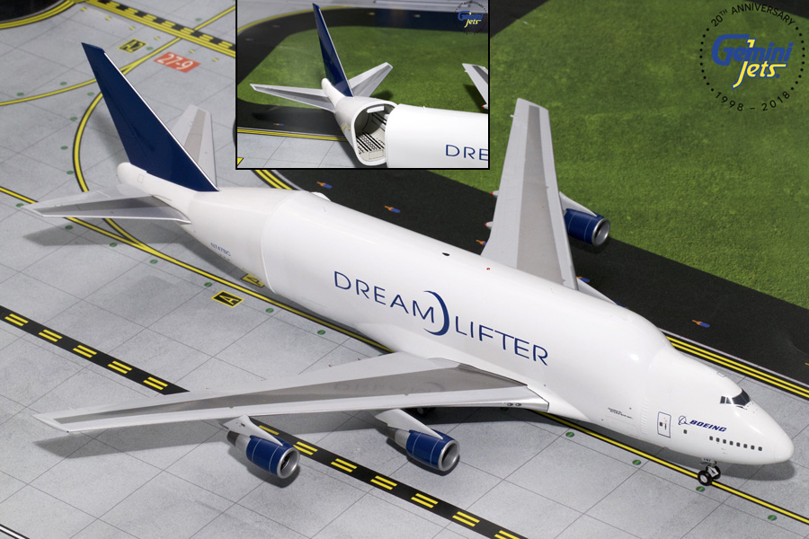 "Boeing B747LCF ""Dreamlifter"" with Opening Tail N747BC (1:200) - New Mould, GeminiJets 200 Diecast Airliners, Item Number G2BOE723"