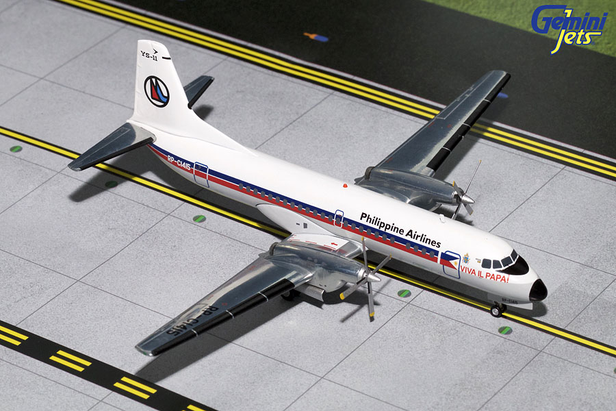 "Philippine Airlines YS-11 ""Papal Livery"" RP-C1415 (1:200), GeminiJets 200 Diecast Airliners, Item Number G2PAL628"