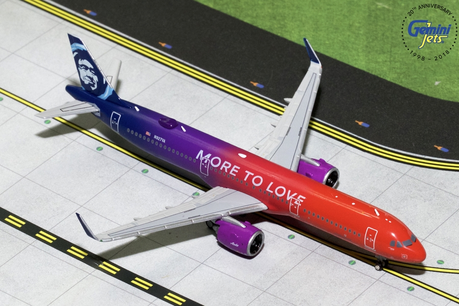 "Alaska Airlines A321neo ""More to Love"" N927VA (1:400), GeminiJets 400 Diecast Airliners Item Number GJASA1776"