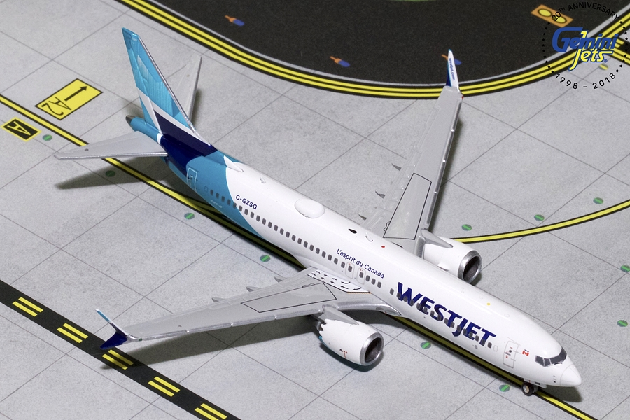 Westjet B737 MAX-8 New Livery C-GZSG (1:400) - Preorder item, order now for future delivery