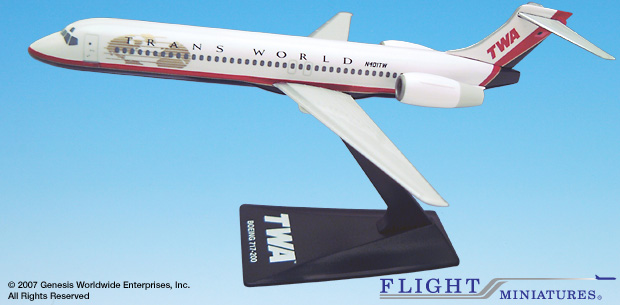 Trans World Airlines (TWA) (95-01) 717-200 (1:200), Flight Miniatures Snap-Fit Airliners Item Number BO-71720H-003