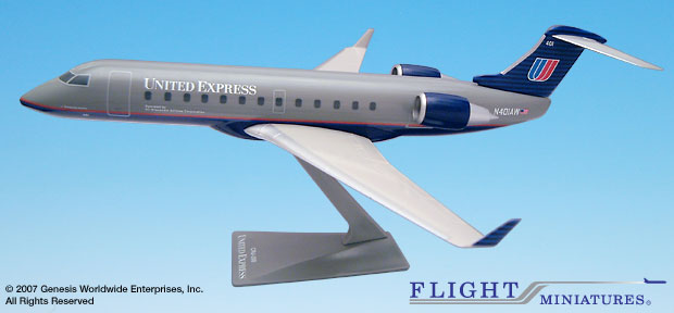 United / Air Wisconsin CRJ200 (1:100), Flight Miniatures Snap-Fit Airliners Item Number CA-20000C-002