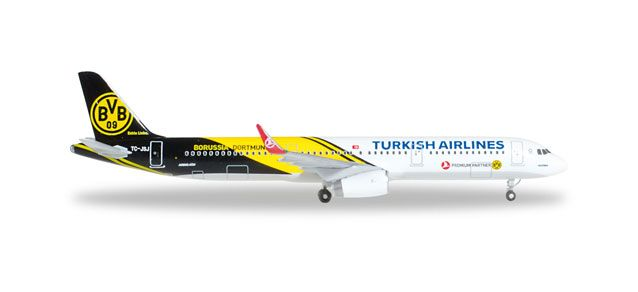"Turkish A321 TC-JSJ ""Kecioren"" (1:500) ""BVB 09 Borussia Dortmund"", Herpa 1:500 Scale Diecast Airliners Item Number HE528825"