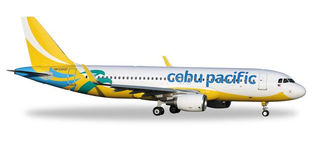 Cebu Pacific Air A320 RP-C4107 - New 2016 colors (1:500), Herpa 1:500 Scale Diecast Airliners Item Number HE529327
