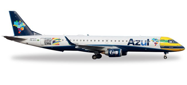 "Azul ERJ-195 (1:200) PR-AYU ""Ayrton Senna"", Herpa 1:200 Scale Diecast Airliners Item Number HE557030"