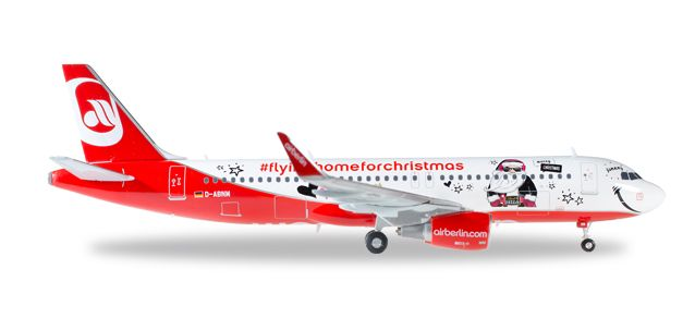 "Air Berlin Airbus A320 ""Lindt Hello - Flying Home for Christmas (V)"" D-ABNM (1:200), Herpa 1:200 Scale Diecast Airliners Item Number HE558150"