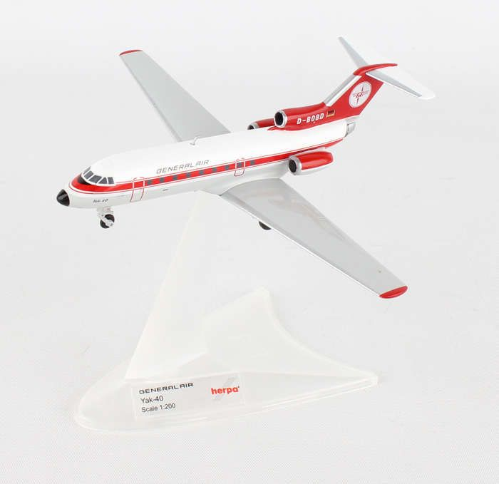 General Air YAK-40 D-BOBD (1:200), Herpa 1:200 Scale Diecast Airliners Item Number HE558358