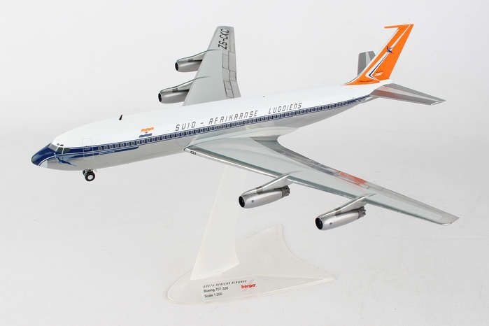 "South African Airways Boeing 707-320 ZS-CKC ""Johannesburg"" (1:200) , Herpa 1:200 Scale Diecast Airliners Item Number HE558693"